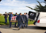 Daly City Catholic Military Funeral Casket leaves hearse 03